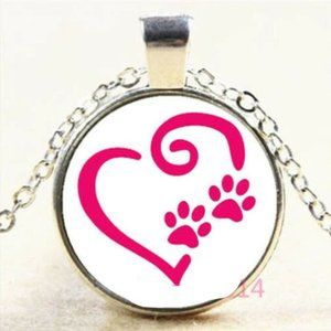 Necklace- NEW- Dog Cat Paw Print Heart Love
